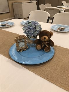 Baby Block Centerpieces for Boys Baby Shower Teddy Bear Baby Shower, Baby Shower Niño, Baby Shower Balloons, Baby Shower Gender Reveal, Baby Shower Games, Teddy Bear Centerpieces, Baby Shower Centerpieces, Baby Shower Decorations, Burlap Baby Showers