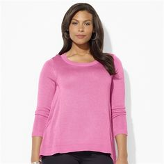 Lauren by Ralph Lauren Plus Size Long-Sleeved Ribbed Tunic #VonMaur #LaurenbyRalphLauren #Pink