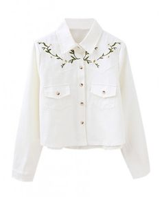 Floral Embroidery Blouse with Point Collar - Blouses - Clothing