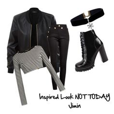 """""""NOT TODAY Jimin"""" by leticia-princs on Polyvore featuring LE3NO, Balmain, Dolce&Gabbana and Jeffrey Campbell"""