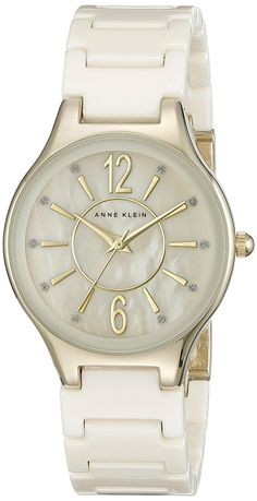 Anne Klein Women's AK/2182IVGB Glitter Accented Gold-Tone and Ivory Ceramic Bracelet Watch ** Click image to review more details.