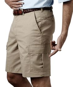 Mens Cargo Shorts, 6-pockets, 9-inch inseam, 8-oz. chino blend,  soil resistant, Sizes: 28-54. Free shipping, custom logo embroidery True to Size Apparel