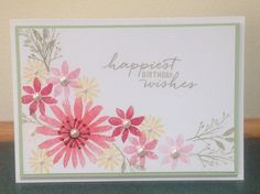 Sarah B's Creative Corner, Handmade Birthday Card, Stampin Up Blooms and Wishes stamp set