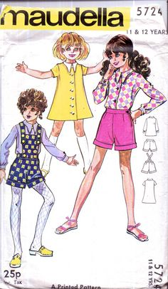Genuine Vintage 1960s MAUDELLA 5724 Girls FUN Pants with Bib Shorts Dress and Funky Blouse Sewing pattern
