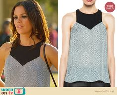 Zoe's grey and black panel top on Hart of Dixie. Outfit Details: http://wornontv.net/23478 #HartofDixie #fashion