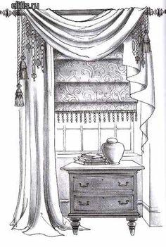 римская шторы с отделкой из стекляруса