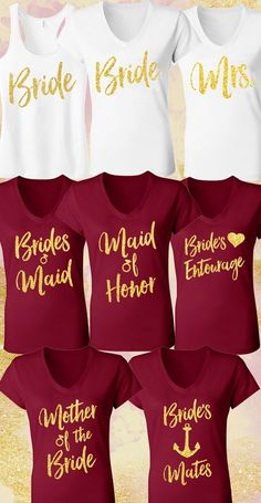Beautiful MERLOT RED & GOLD #Wedding Shirts at www.MrsBridalShop.com. Buy more and save, Mix and Match, More to choose from.