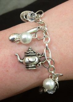 Tea Lover Charm Bracelet tea pot cups and by ThePaperPoppyStore