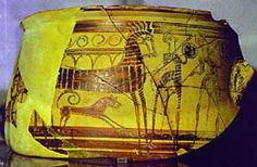 Bronze age Etruscan painted terracotta vase with warriors, chariot and dogs from Etruscan colony Mycenae Ancient Rome, Ancient Greece, Ancient Art, Mycenaean, Minoan, Greek Pottery, Greek History, Art Thou, Bronze Age