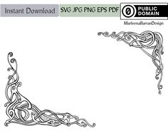 This double corner design of interlacing Viking dragon knotwork was originally drawn with a dip pen and ink. It has been scanned and converted into a vector design that can be incorporated in your craft from scrap booking to wedding invitations... and anything in between.    ______________________________________________________ This download contains  1 SVG vector file 1 PDF vector file   1 JPG, on a white background (300 dpi, 2000 px wide) 1 PNG, transparent background (300 dpi, 2000 px…