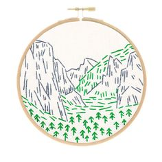 This adorable, small embroidery kit of Yosemite in California is part of my National Parks series. If you love the outdoors, now you can show it off with a stitched landmark you love (and hopefully ha