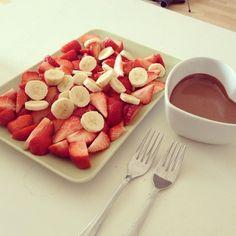 Morango banana e chocolate, sobremesa, dessert