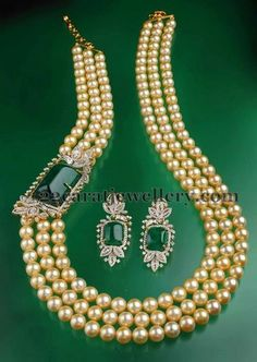 Jewellery Designs: Pearls Long Chain with Diamond Motif