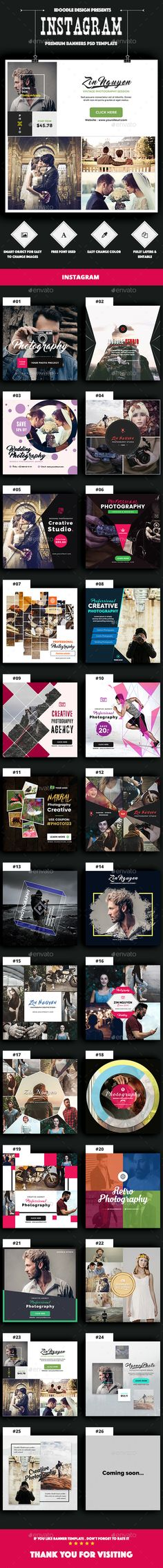 Photography Instagram Banners Ads - 25 PSD - Social Media Web Elements