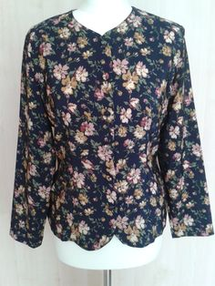 Vintage eighties 1980s long sleeved fitted navy blue floral collarless blouse by DottysVintageFinds on Etsy