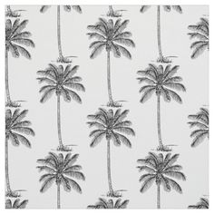 Coconut Palm Trees Line Drawing Style repeating #pattern #fabric