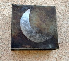 Silver Moon Light Sconce- Steel with silver mica moon.