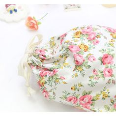 With Alice Vintage flower pattern cotton drawstring pouch - fallindesign