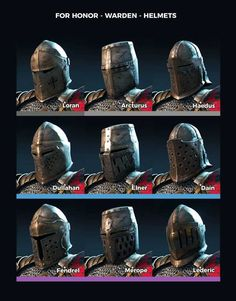 For Honor Warden Helmets For Honor Warden, For Honor Armor, Medieval Knight, Medieval Armor, Medieval Fantasy, Armadura Medieval, Medieval Helmets, Knights Helmet, Templer