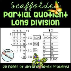 Scaffolded Partial Quotient Long Division Practice Packet - 28 worksheet pages <p><strong>Scaffolded Partial Quotient Long Division Practice Packet - 28 differentiated worksheet pages</strong></p><p></p><p>As a teacher of fourth grade for over 20 years, I can tell you that long division is easily the most challenging 4th grade math calculation your students will learn. It involves learning not one, but two complicated (sometimes confusing) algorithms. It requires a strong fluency of basic…