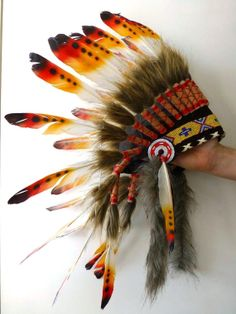 For Kid / Children: three colors Chief indian Feather Headdress / native american Warbonnet for the little ones