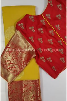 Custom made blouse designs at The Hanger Fashion Boutique. Reach us at 9490192436 to order. Hand Work Blouse Design, Simple Blouse Designs, Stylish Blouse Design, Designer Blouse Patterns, Fancy Blouse Designs, Bridal Blouse Designs, Blouse Neck Designs, Traditional Blouse Designs, Traditional Fashion