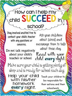 Printables for Parents...How Can I Help My Child Succeed in School?