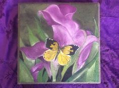 Butterfly & Cala Lily Hand-painted Concrete by GardenCreationsbyJ