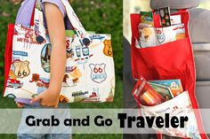 Travel organizer for kids-- hangs from the back of the seat, and then folds up into a bag. Brillant!