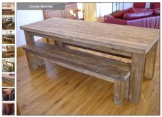 Chunky Reclaimed Wood Benches & Table... 5th anniversary gift idea...