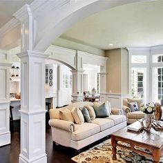 kitchen separation  Family Room Arch Trim Work Design, Pictures, Remodel, Decor and Ideas