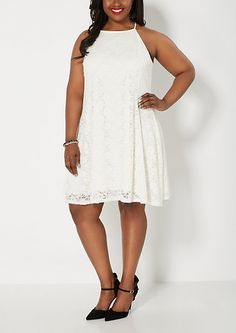 64eab58fd76 Plus Ivory Crochet Skater Dress