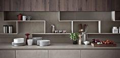 Zampieri - Line K kitchen in cement resin and seasoned oak.