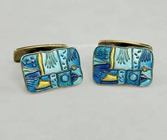 "Vintage David Andersen ""Four Seasons"" Spring- Enamel on Copper Cufflinks"