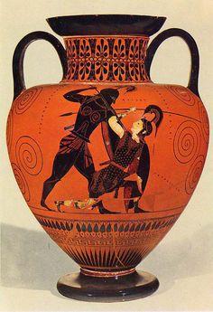 Exequias Aquiles matando a Pentesilea Ceramica arcaica Griega