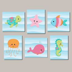 Girl Nursery Wall Art Sea Life Sea Animals Prints Or Canvas Under The Sea Nursery Decor Sea Animals Bathroom Girl Nursery Prints Set of 6 - Nursery wall art girl, Animal wall art n - Sea Nursery, Nautical Nursery, Animal Nursery, Nursery Wall Art, Girl Nursery, Nursery Decor, Nautical Art, Wall Decor, Diy Wall