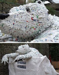 plastic-bag-art  The above trash sculpture was created from recycled carrier bags as part of the Eden Project near Cornwall.