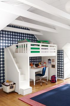 "With your little one growing into a student (can you believe i!t), you'll want to establish a designated study space that inspires creativity. But sometimes it can be difficult to find this ""extra space"" if you're in a smaller home. That's why we're in love with our Catalina Stair Loft bed! This will give them the ideal study lounge while also making bedtime fun with a fancy staircase that takes them to their bed."
