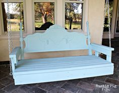 Porch swing made out of a few boards and an old headboard! It wouldn't even require a particularly pretty headboard - even a 1960s vintage maple headboard would work just fine, if painted the right color!