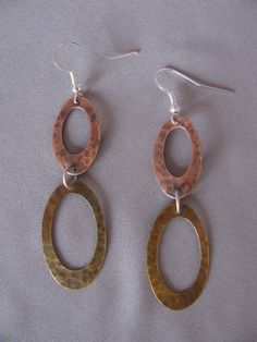 Hammered Mixed Metal Earrings by wednesdaysdesign on Etsy, $20.00