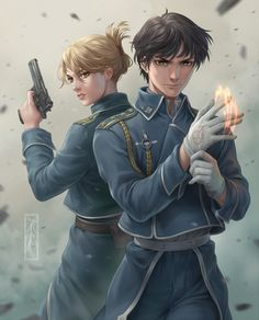 Riza Hawkeye and Roy Mustang - Fullmetal Alchemist Brotherhood