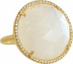Moonstone & Diamond Ring, Yellow Gold.