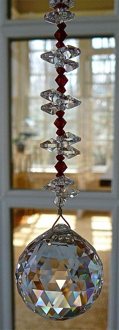 "Natalie Red 9"" - Swarovski Crystal Sun Catcher, 30mm Crystal Ball with Red Crystal Beads and Crystal Octagons"