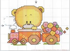 Teddy Bear and Train Mais Cross Stitch For Kids, Cross Stitch Cards, Cross Stitch Borders, Cross Stitch Baby, Cross Stitch Animals, Cross Stitching, Cross Stitch Embroidery, Embroidery Patterns, Cross Stitch Patterns
