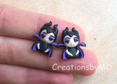 Maleficent stud earrings polymer clay fimo by CreationsbyMD