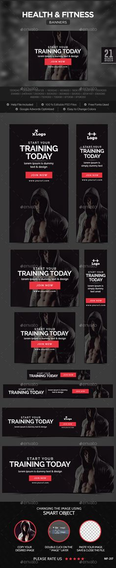 Health & Fitness Banners Template PSD | Buy and Download: http://graphicriver.net/item/health-fitness-banners/10111153?ref=ksioks