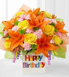 Birthday Celebration Bouquet by FTD - ftd flowers for birthday Happy Birthday Flower, Birthday Bouquet, Happy Birthday Images, Happy Birthday Greetings, Birthday Fun, Birthday Celebration, Birthday Gifts, Birthday Board, Special Birthday