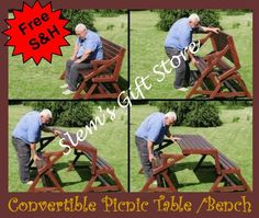 PICNIC BENCH TABLE CONVERTIBLE 2 IN 1 RUSTIC FIR WOOD SPACE SAVER GARDEN PATIO $174.95 Free S All items available in bulk at discounted prices.  http://stores.ebay.com/Slems-Gift-Store or order directly from me at dslem3@yahoo.com for 20% off anything in the store!
