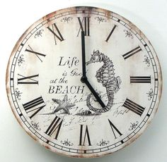 Wall Clock Wood Nautical Ocean