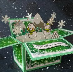 Hello Today i'm showing a pop up box card with snowmen. Both die and stamp sets by lawn fawn really were my favourite this winter cause the...